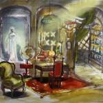 """Dessin préparatoire: le bureau de """"Jules Verne"""""""