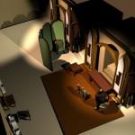 Maquette 3D: le bureau de Jules Verne