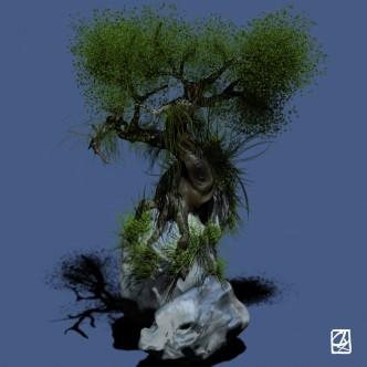 """Modélisation 3D: """"arbre et rochers""""."""