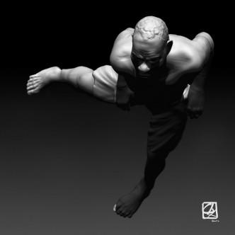 """Modèle 3D: """"rameur de Yole""""."""