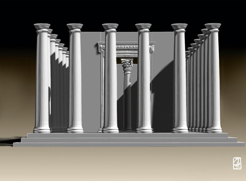 mod lisation 3d d 39 un temple grec. Black Bedroom Furniture Sets. Home Design Ideas