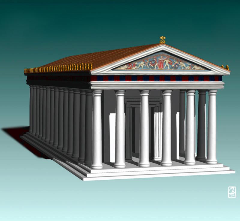 Mod Lisation 3d D 39 Un Temple Grec