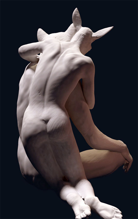 "3D creation: ""Sad wolf 1-soul mates"""