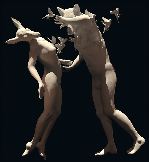 "3D creation: ""Sad wolf 2-blindness"""