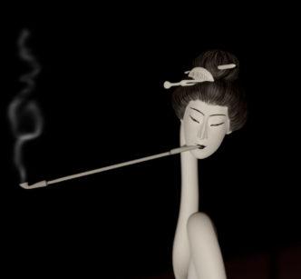 Interprétation 3D: Rokurokubi (La femme au long cou) de Hokuzai
